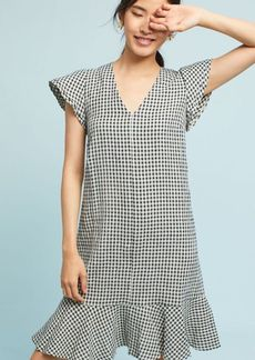 Gingham Flutter-Sleeve Dress