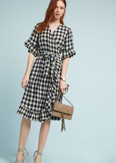 Gingham Flutter Wrap Dress