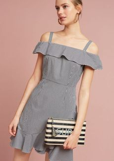 Gingham Ruffled Open-Shoulder Dress