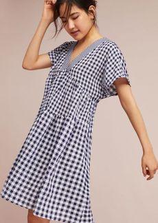 Gingham V-Neck Swing Dress