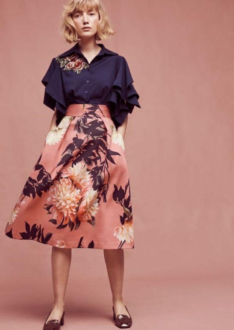 Anthropologie Grand Floral Midi Skirt