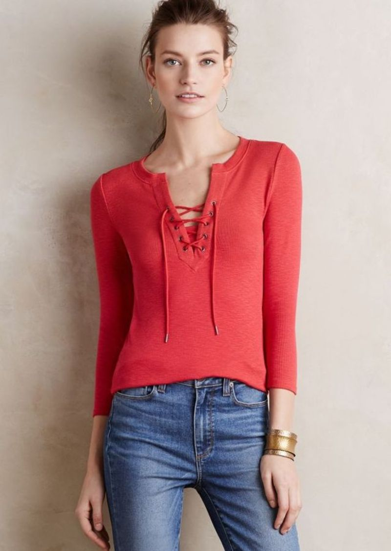 Anthropologie Lace-Up Tee