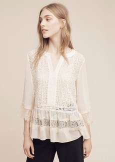 Anthropologie Laced Henley Blouse