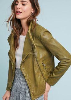 Lamarque Talia Funnel-Neck Leather Jacket