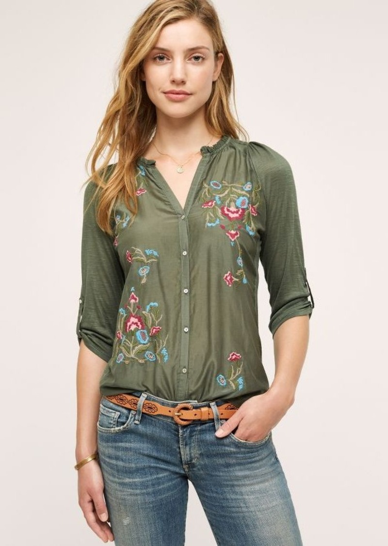 Anthropologie Lazuli Embroidered Top
