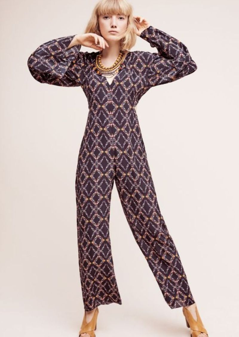 Anthropologie Liset Silk Bell-Sleeve Jumpsuit