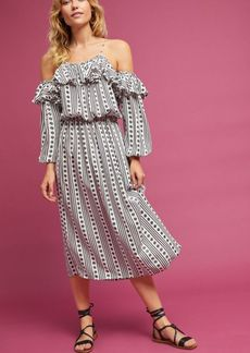 Anthropologie Misha Open-Shoulder Midi Dress