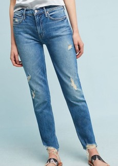 Mother The Flirt Fray High-Rise Ankle Jeans