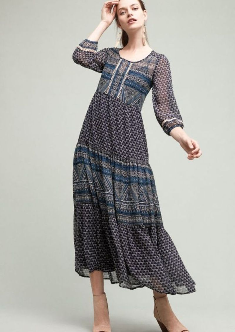 Anthropologie New Geometry Tiered Maxi Dress