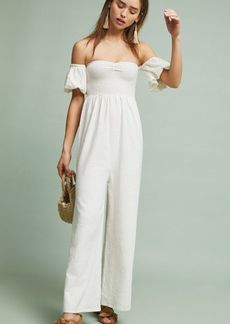 Anthropologie Off-The-Shoulder Sweetheart Jumpsuit