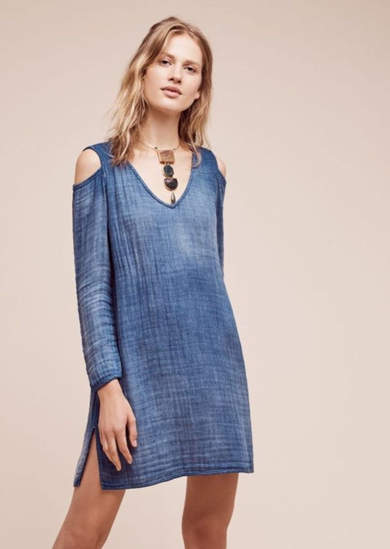 Anthropologie Open-Shoulder Chambray Shift
