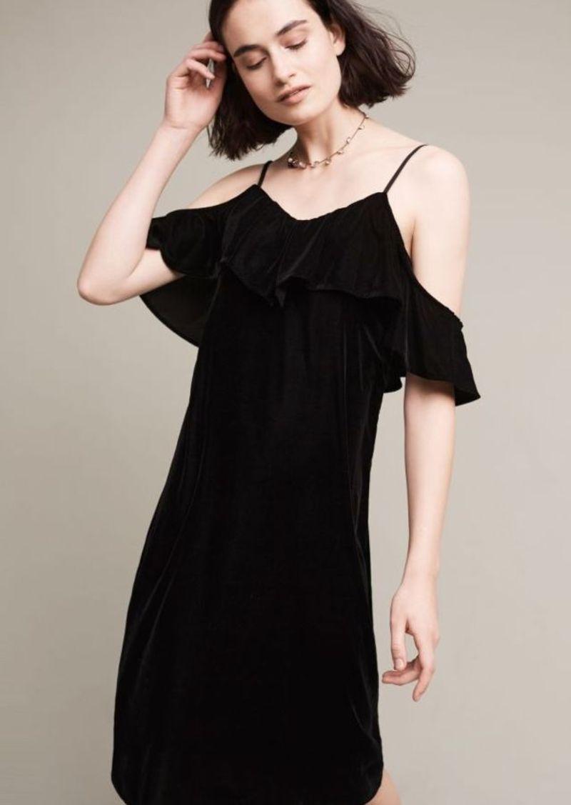 Anthropologie Open-Shoulder Velvet Midi Dress