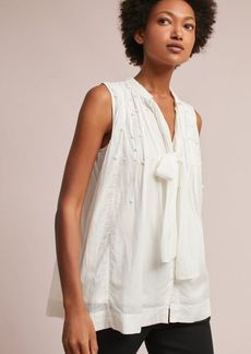 Anthropologie Pearled Tie-Neck Swing Blouse