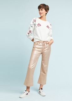 Pilcro Coated High-Rise Cropped Flare Jeans
