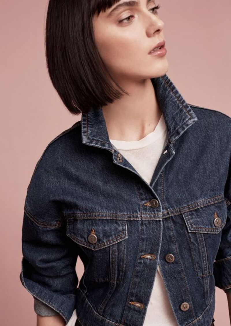 Anthropologie Pilcro Cropped Denim Trucker Jacket