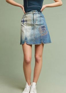 Anthropologie Pilcro Embroidered Denim Skirt