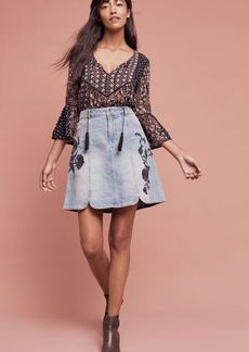 Anthropologie Pilcro Embroidered Denim Skirt