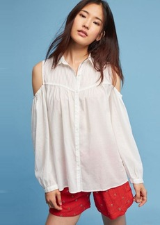 Anthropologie Pintucked Open-Shoulder Blouse