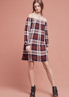 Anthropologie Plaid Off-The-Shoulder Tunic Dress