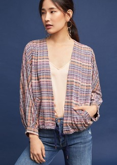Anthropologie Plaid Tie-Hem Cardigan