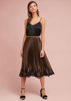 Anthropologie Pleated Laced-Hem Skirt