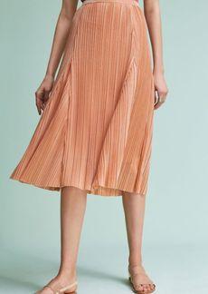 Anthropologie Pleated Metallic Skirt