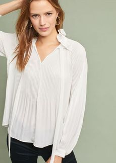 Pleated Tie-Neck Pullover