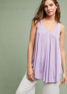 Anthropologie Pleated V-Neck Tunic Tank