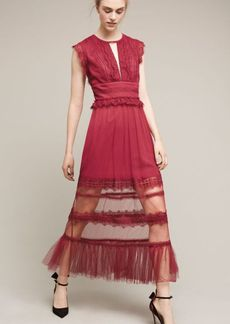 Anthropologie Plum Lace Midi Dress