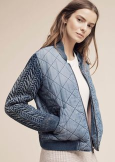 Anthropologie Quilted Chambray Bomber