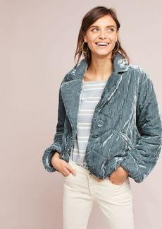Quilted Velvet Puffer Coat