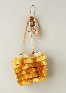 Anthropologie Raffia Fringe Bucket Bag