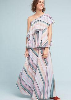 Anthropologie Rainbow Ruffled Maxi Dress
