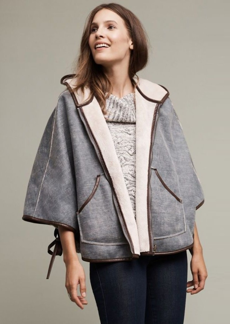 Anthropologie Reversible Hooded Sherpa Cape