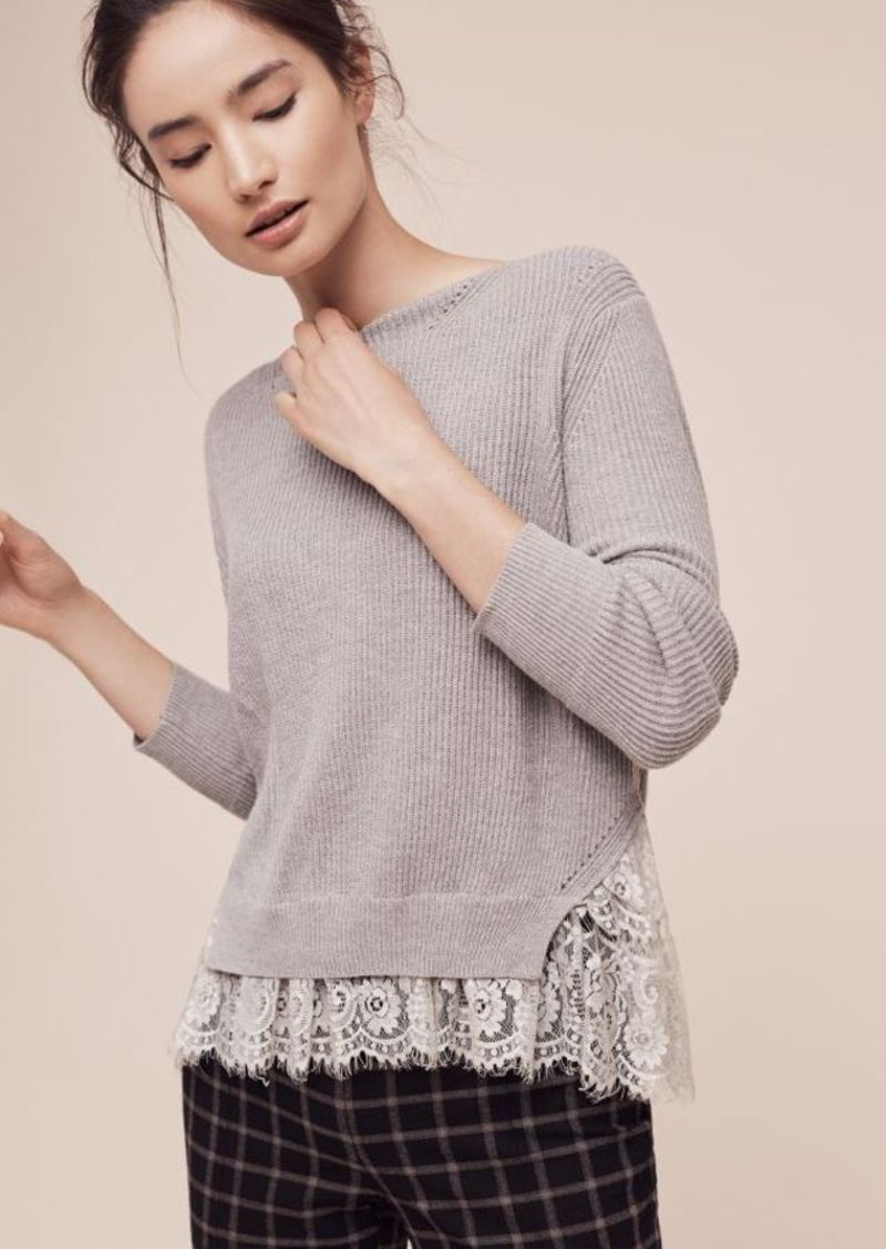 Anthropologie Ribbed Lace-Hem Pullover