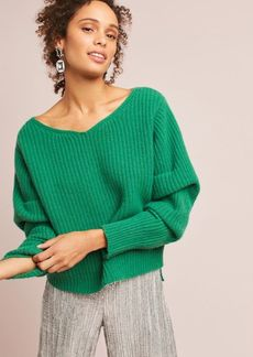 Anthropologie Ribbed Ruched-Sleeve Pullover