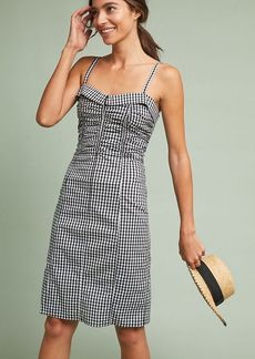 Anthropologie Ruched Gingham Dress