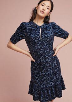 Ruched-Sleeve Velvet Dress
