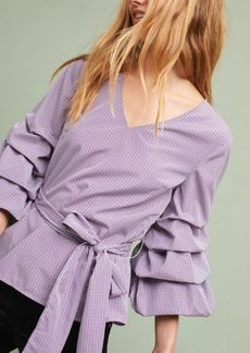 Anthropologie Ruffled & Tied Gingham Blouse