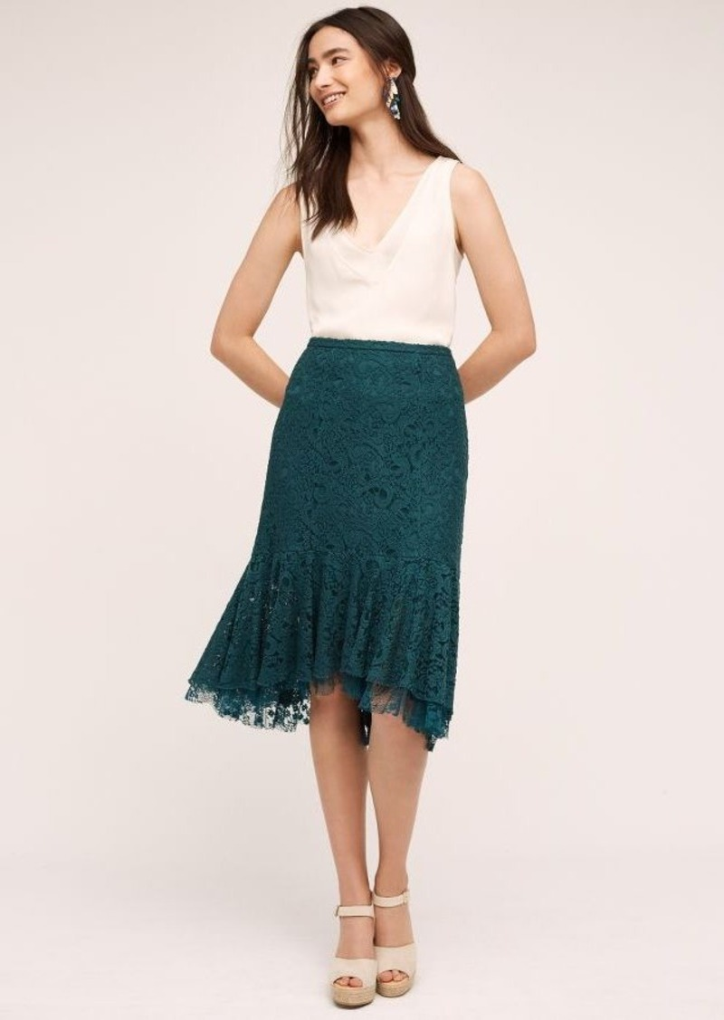 Anthropologie Ruffled Lace Skirt