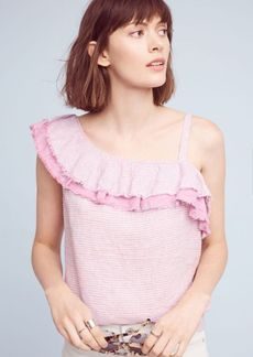Ruffled Linen One-Shoulder Top