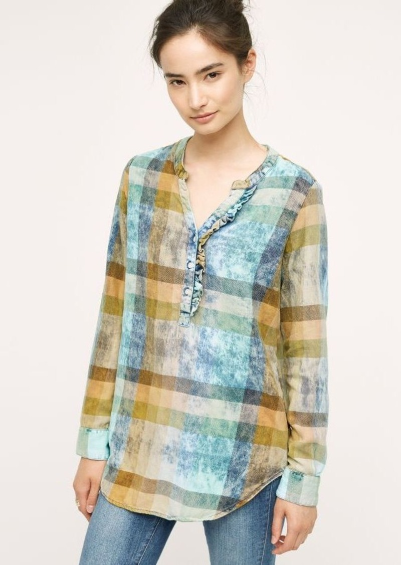 Anthropologie Ruffled Plaid Henley