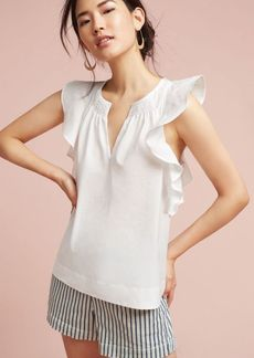 Anthropologie Ruffled Poplin Blouse