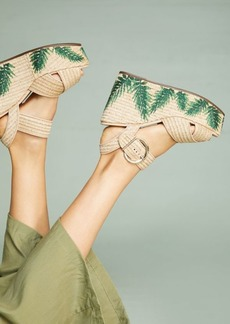 Anthropologie Schutz Feray Palm-Embroidered Platform Wedge Sandals