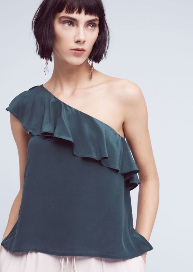 Anthropologie Silk One-Shoulder Blouse