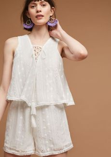Sleeveless Lace-Up Romper