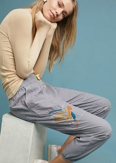 Anthropologie Stockton Embroidered Joggers