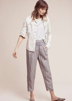 Anthropologie Striped Linen Joggers
