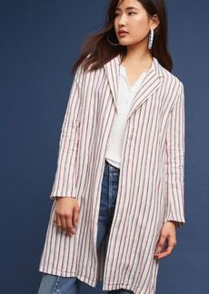 Striped Long Linen Blazer