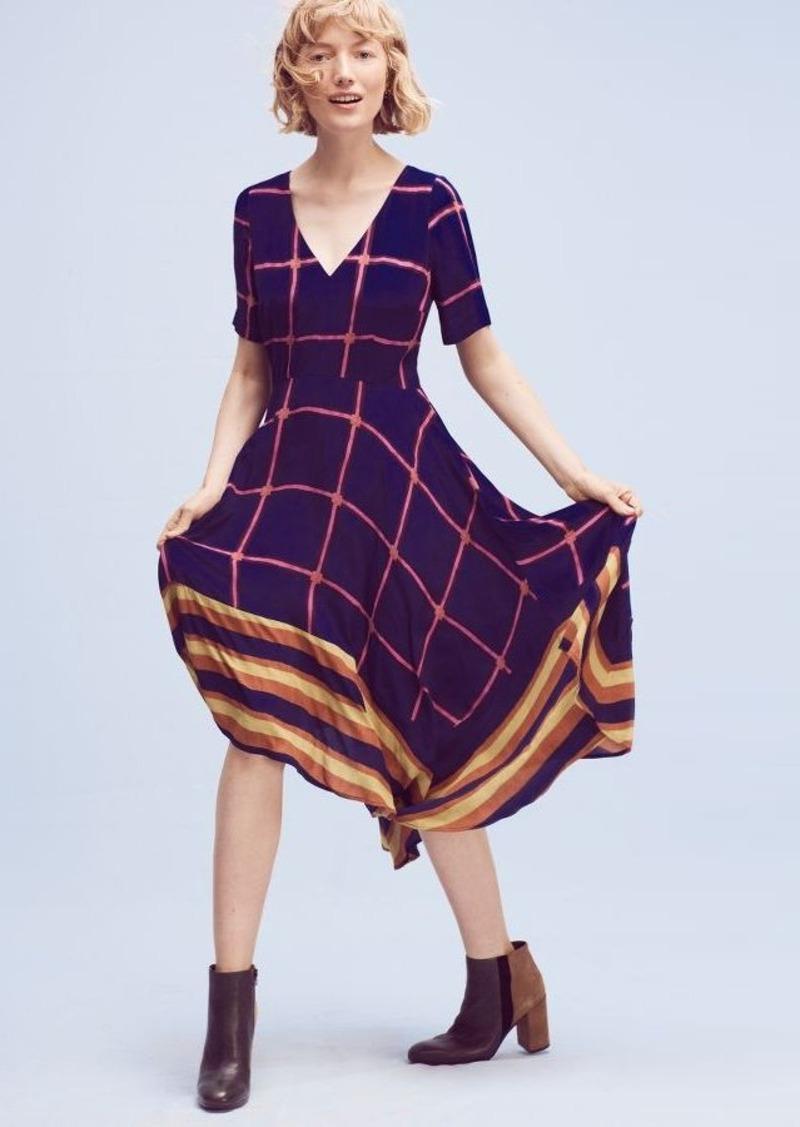Anthropologie Striped Pane Midi Dress